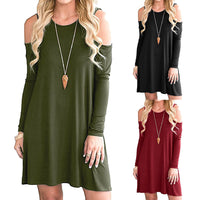 Women Casual Off Shoulder Round Neck Dress Ladies Long Sleeve Mini Dress - Goodies Online Store