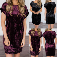 Womens Short Sleeve Party Dress Ladies Velvet Mini Dress - Goodies Online Store