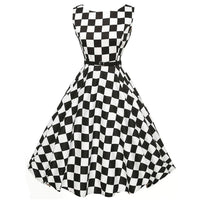 Women Vintage Plaid Bodycon Sleeveless Casual Evening Party Prom Swing Dress