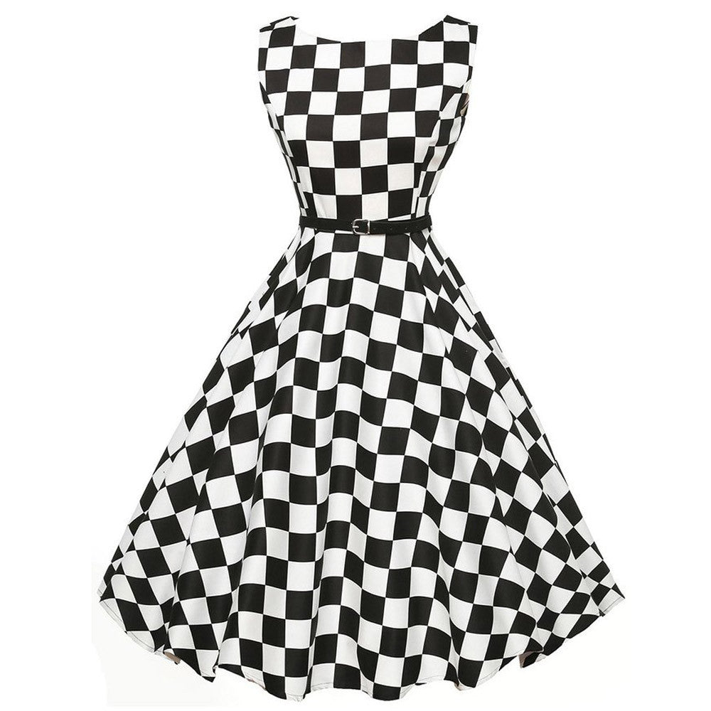 Women Vintage Plaid Bodycon Sleeveless Casual Evening Party Prom Swing Dress - Goodies Online Store