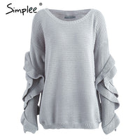Simplee Ruffle knitted sweater women pullover female Casual loose round neck winter sweater Autumn pull femme knit jumper - Goodies Online Store
