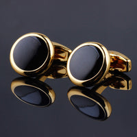 Luxury Fashion Black Round Plated Cufflinks Arm Buttons for Women Men Business Shirts Cuff links Wedding Jewelry FPJXZ31 - Goodies Online Store