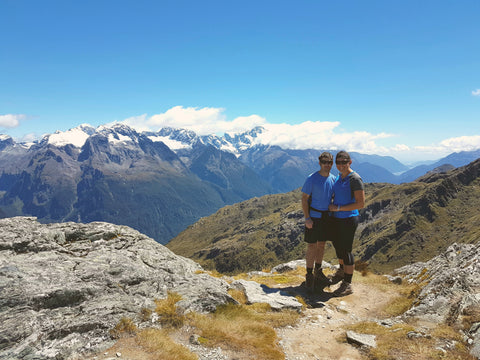Sam and I on top of Conical Hill. Which is a side track you can take from the Harris Saddle on the Routeburn Track. You can see all the way to the sea behind us.
