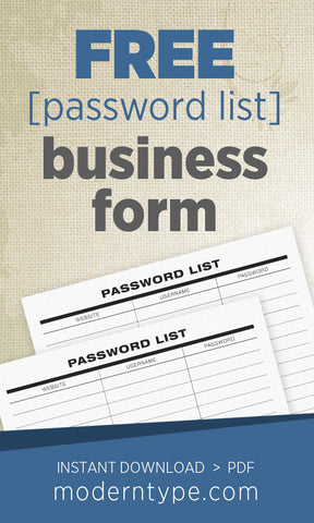 graphic about Free Printable Password List identified as Free of charge Pword Record Printable Variety Moderntype Layouts
