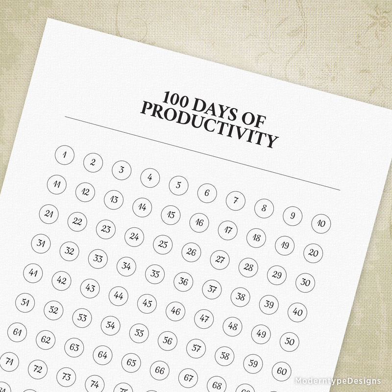 100 Days of Productivity Printable