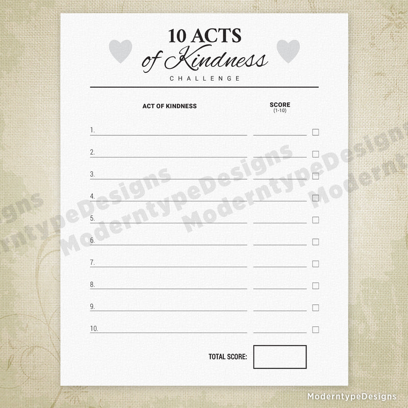 10 Acts of Kindness Challenge Printable