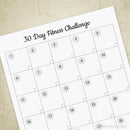 30 Day Fitness Challenge Printable