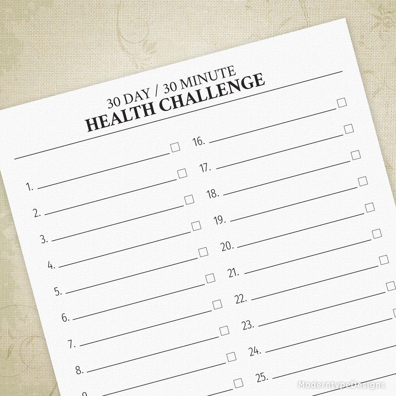 30 Day, 30 Minute Health Challenge Printable