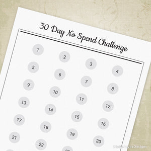 30 Day No Spend Challenge Printable