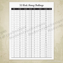 Load image into Gallery viewer, 52 Week Money Challenge Printable