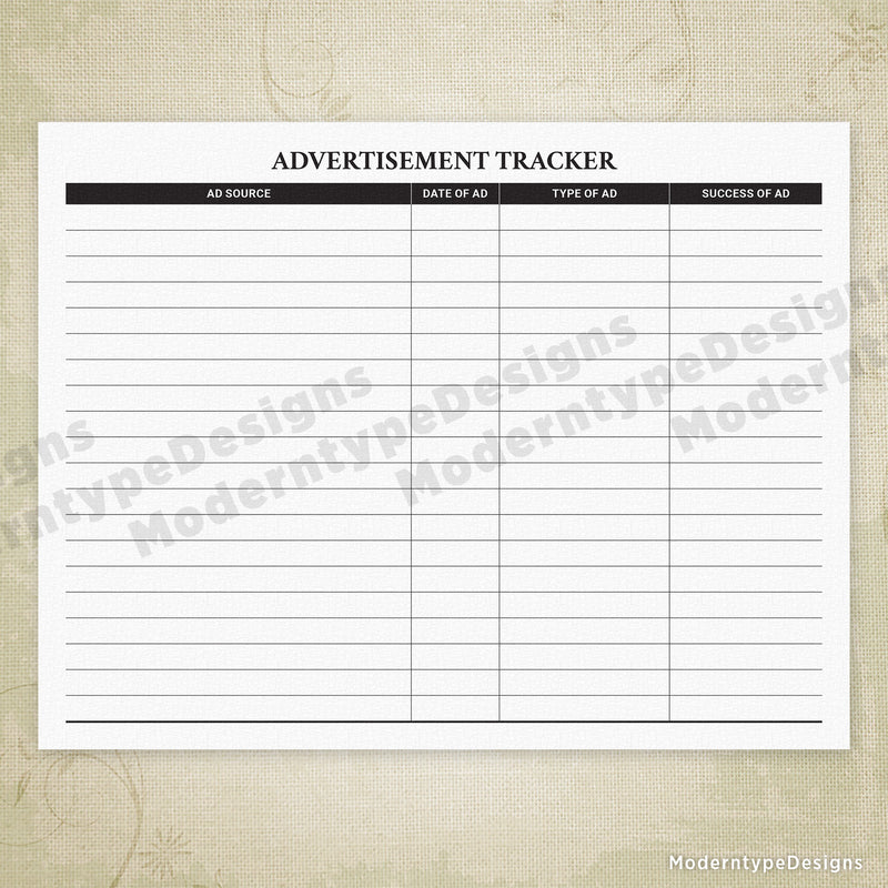 Advertising Tracker Printable
