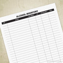 Alcohol Inventory Form Printable