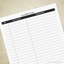 Allergy Log Printable Chart