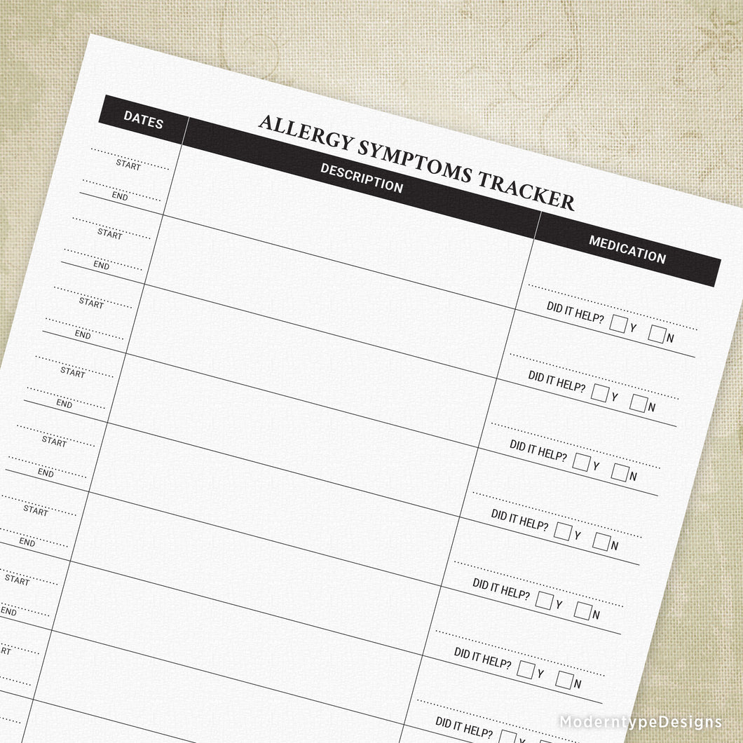 Allergy Symptoms Tracker Printable