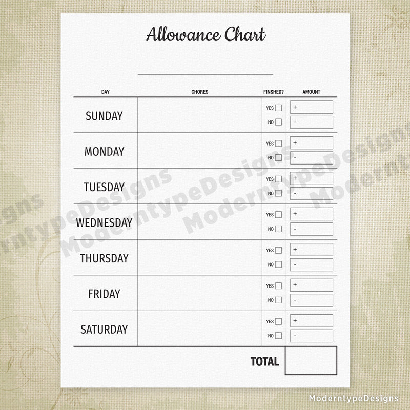 Allowance Chart Printable Form with Penalties