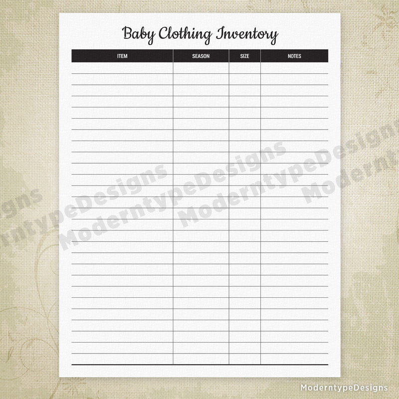 Baby Clothing Inventory Printable