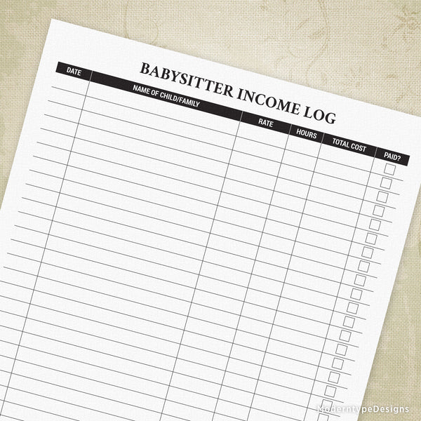 Babysitter Income Log Printable