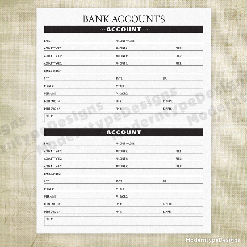 Bank Accounts Printable - End of Life
