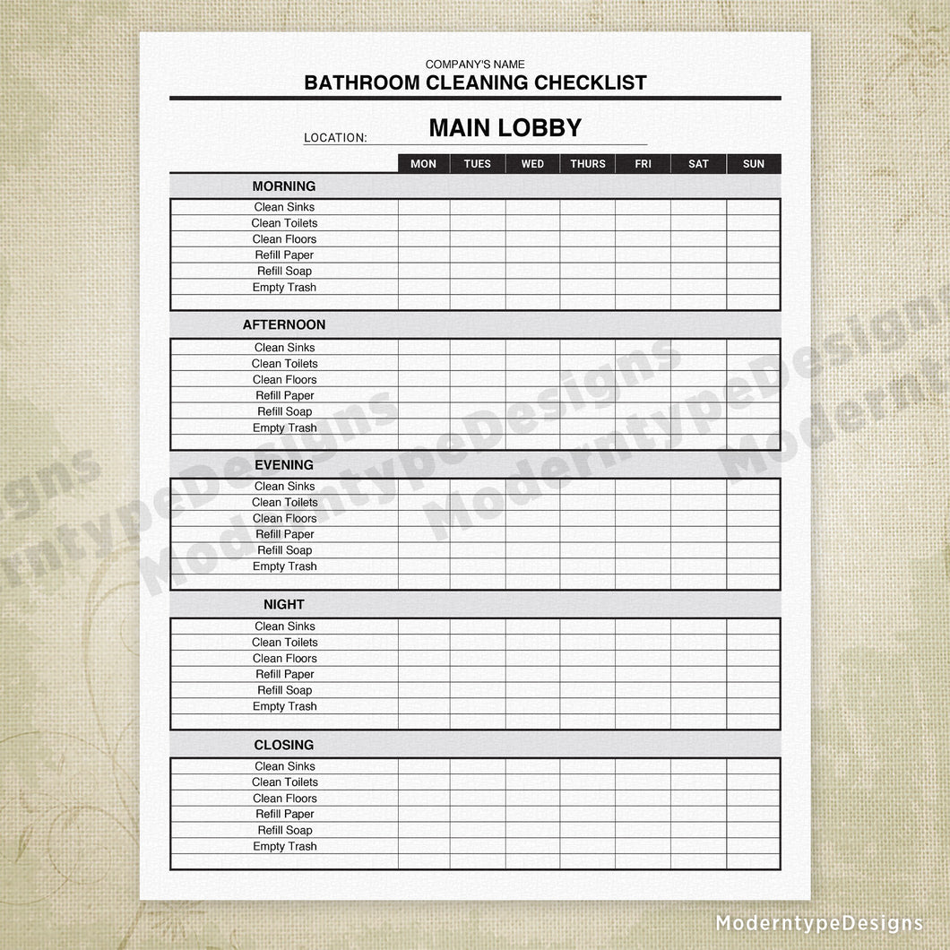 Bathroom Cleaning Checklist Printable Editable