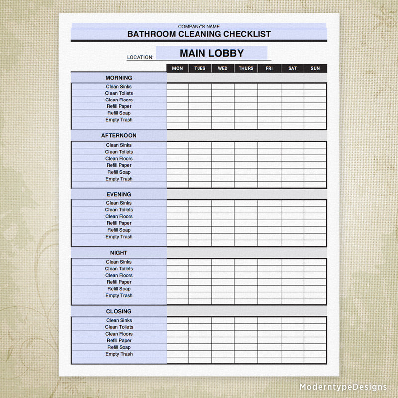 Bathroom Cleaning Checklist Printable (editable)