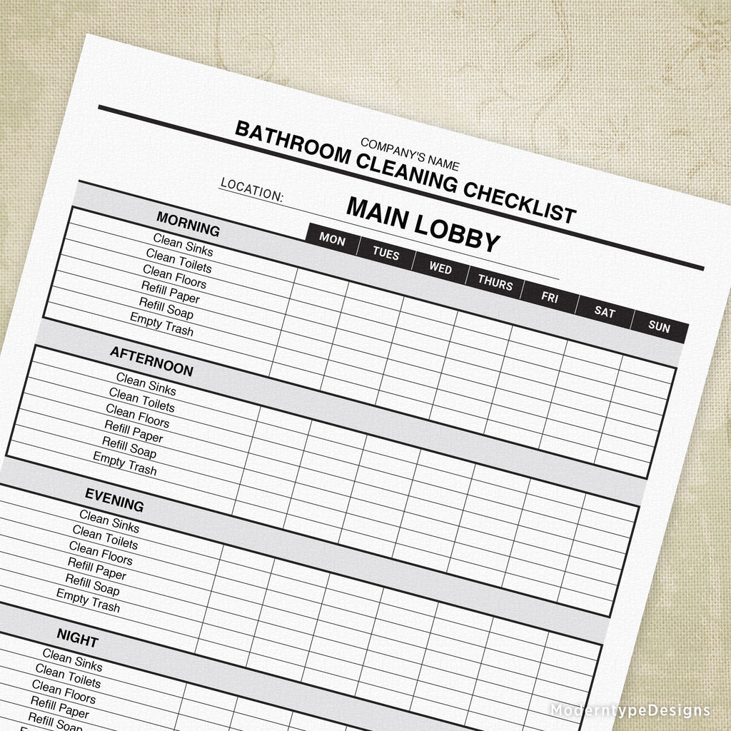 Bathroom Cleaning Checklist Printable (editable ...