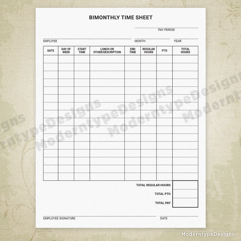 Bimonthly Time Sheet Printable