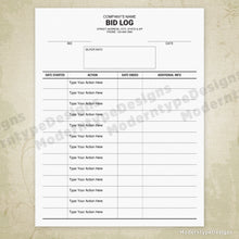 Bid File Log Printable Form (editable)