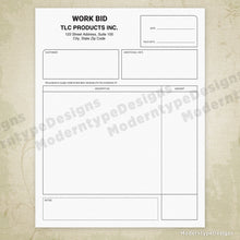 Load image into Gallery viewer, Work Bid Printable Form (editable)