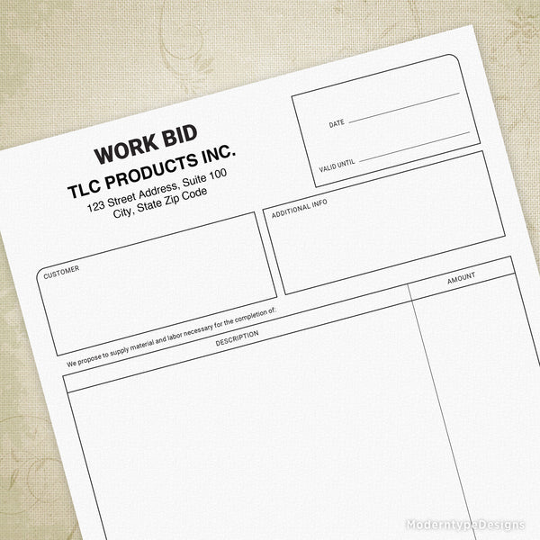Work Bid Printable Form (editable)