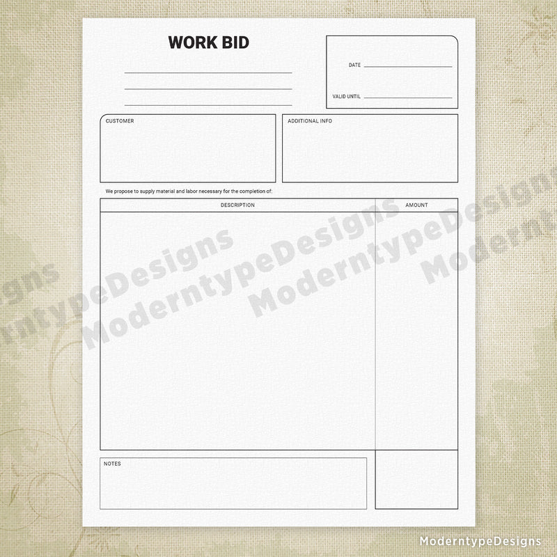 Work Bid Printable Form