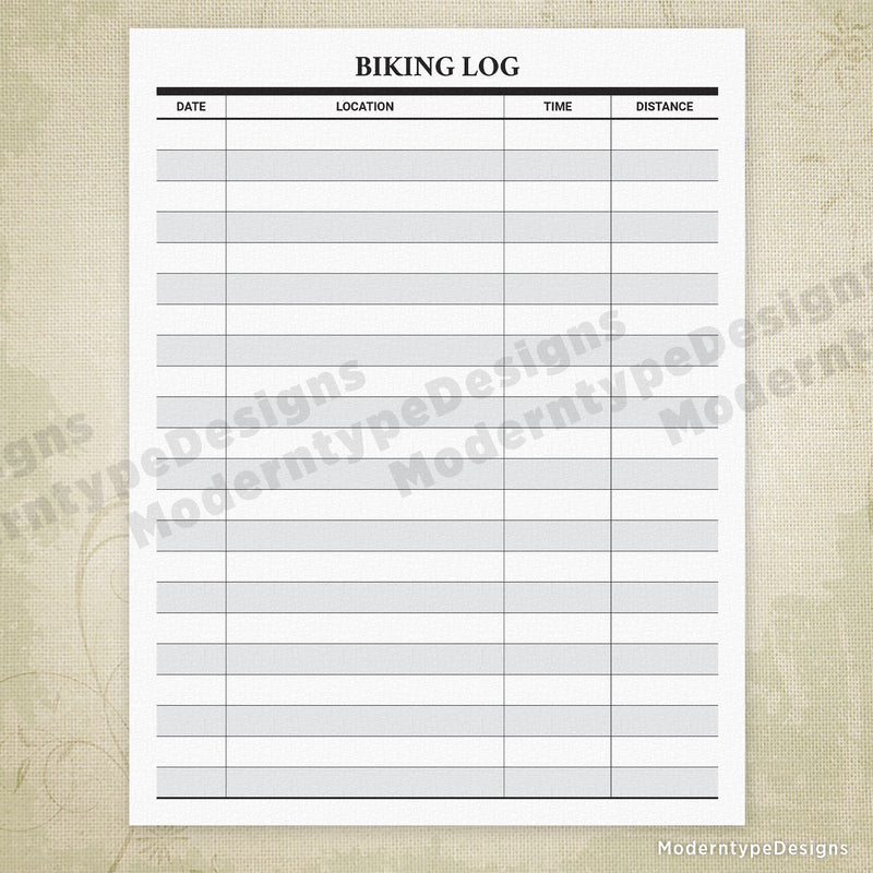 Biking Log Printable