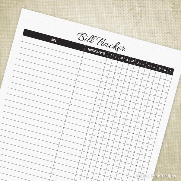 Bill Tracker Printable for the Year