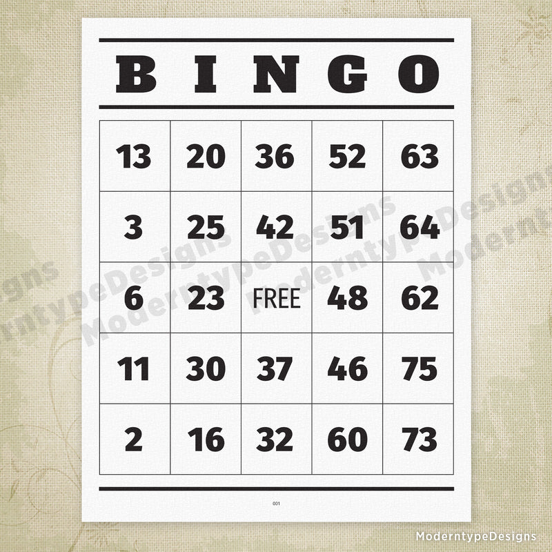 100 BINGO Cards 1-75 Printable