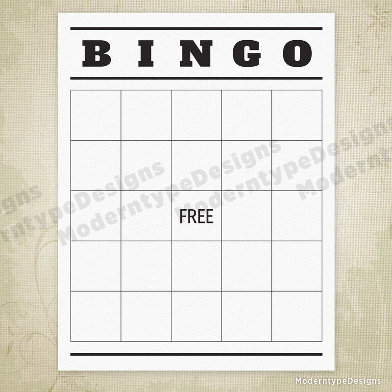 Blank BINGO Game Printable