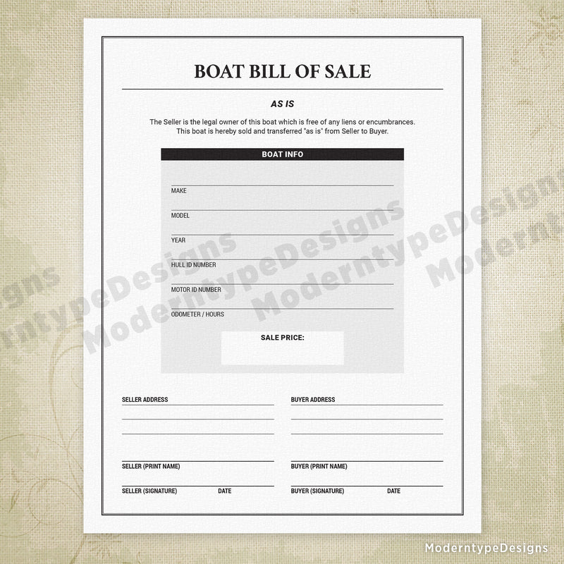 Boat Bill of Sale Printable