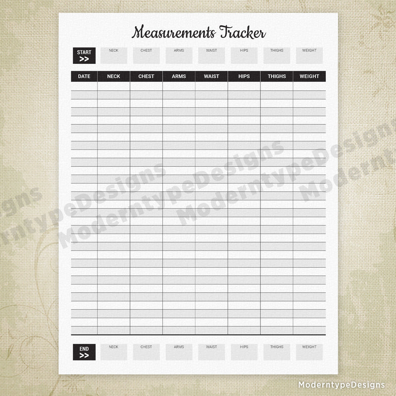 Body Measurements Tracker Printable