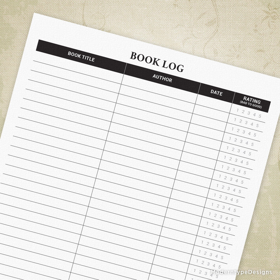 Book Log with Rating Printable Form