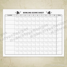 Load image into Gallery viewer, Bowling Scoring Sheet Printable