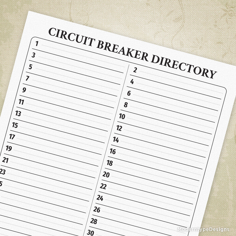 Breaker Directory Printable with 42 Circuits