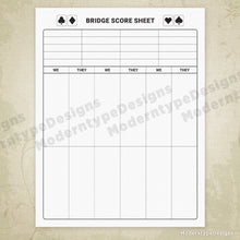 Load image into Gallery viewer, Card Game Scoring Sheets Printable