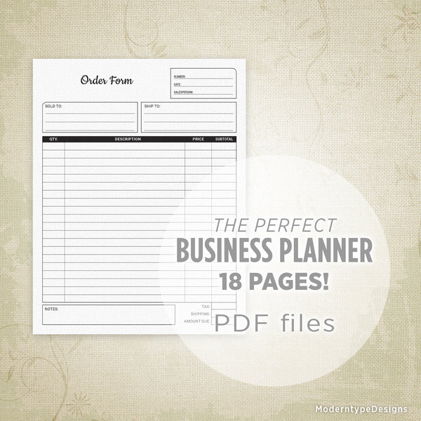 Business Planner Printable Kit