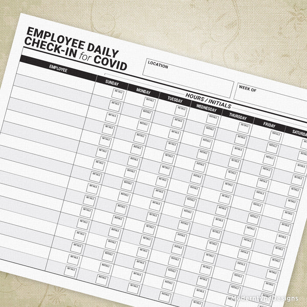 Employee Daily Check-in for COVID Printable
