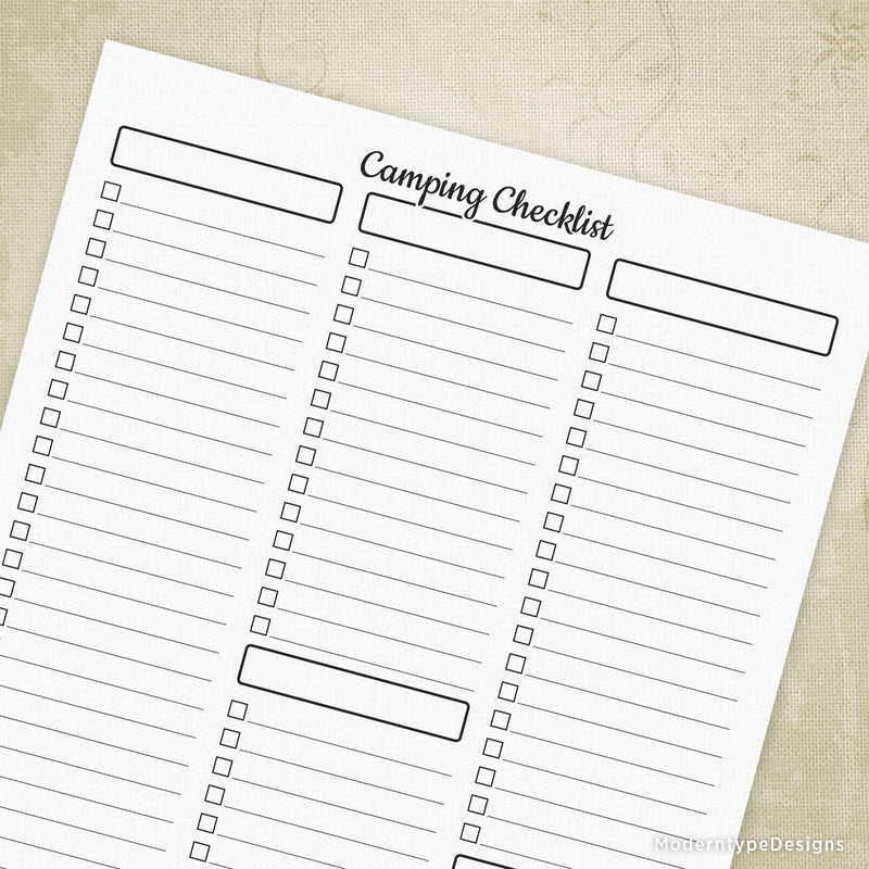Camping Checklist Planner Printable