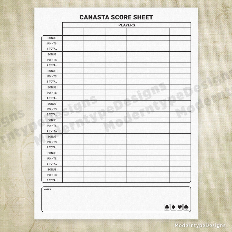 Canasta Score Sheet Printable Form