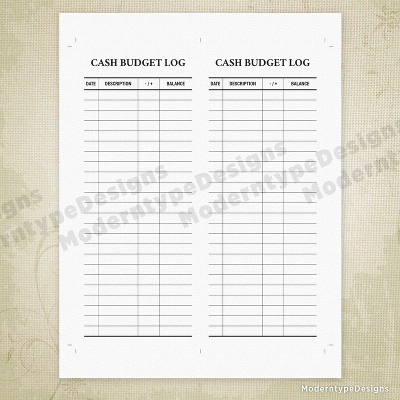 Cash Budget Log Printable