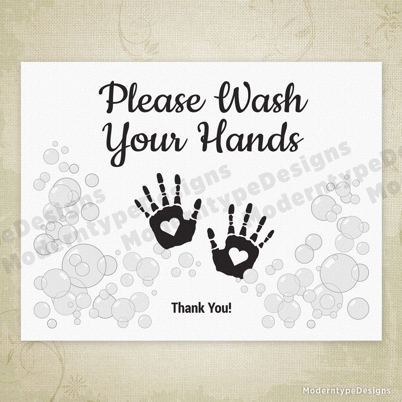 Children's Wash Hands Printable Sign