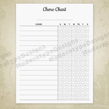 Load image into Gallery viewer, Chore Chart Printable Form (editable)