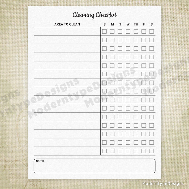 Cleaning Checklist Printable Form (editable)