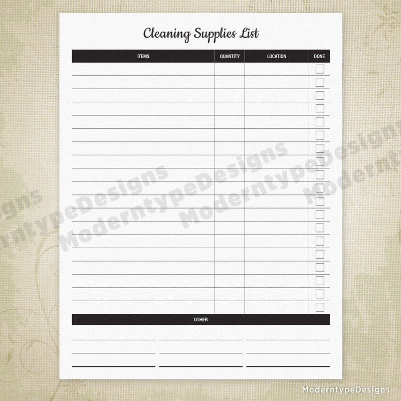 Cleaning Supplies List Printable