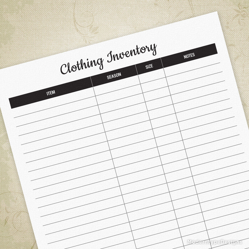 Clothing Inventory Printable